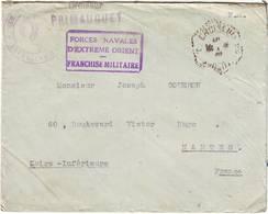 FORCES NAVALES D' EXTREME ORIENT Lettre Du CROISEUR PRIMAUGUET Pour Nantes 1939 - Poststempel (Briefe)
