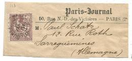 MOUCHON 20C N°113 SEUL PETITE BANDE JOURNAUX PP 1901 POUR ALLEMAGNE RARE     AU TARIF - Poststempel (Briefe)