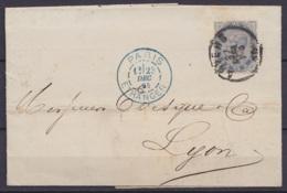 """L. Affr. N°40 Càd ANVERS /27 DEC 1884 Pour LYON - Càd """"PARIS ETRANGER /28 DEC 84"""" (au Dos: Càd LYON) - 1883 Leopoldo II"""