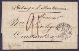 """L. Datée 11 Mai 1837 De MARSEILLE Pour CONSTANTINOPLE - Port """"21"""" - Man. """"Bateaux De La Méditerranée"""" (1e Voyage Du Paqu - 1801-1848: Precursors XIX"""