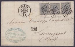 """L. Affr. Bande De 3 N°17 Lpts 264 Càd NAMUR /25 MARS 1869 Pour ESCAUPONT (Escautpont Nord) - [PD] (au Dos: Càd """"FRANCE / - 1865-1866 Profil Gauche"""