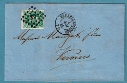 30  Lettre Obl LP 63 + Dc BXL (Nord) Et Ca Verviers - 1869-1883 Leopoldo II