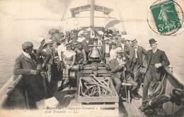 76 Le Havre Départ Du Bateau Augustin Noomand Normand Pour Trouville Cpa Carte Animée Cachet 1908 - Harbour