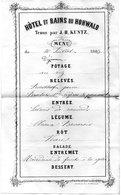 MENU HOTEL ET BAINS DE HOHWALD TENUS PAR J.H KUNTZ 1883 - Menu