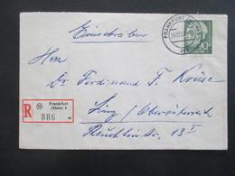 BRD 1955 Heuss I Nr. 193 EF Auslands Einschreiben Frankfurt Main I Nach Linz Österreich - [7] Federal Republic