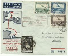 Lettre Affranchissement Mixte Belgique COngo Belge De BRUXELLES 1 *** Le 28-II-1935 Vers Léopoldville Et Retour Anvers 1 - Luchtpost