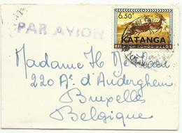 Petite Enveloppe (format Carte De Visite) Affr. à 6Fr50 ELISABETHVILLE Par Avion Vers Bruxelles - Verso : Superbe Vignet - Katanga