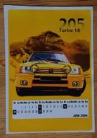 Autocollant Peugeot 205 Turbo 16 Avec Calendrier Juin 2004 - Dim. 14 X 10 Cm - (n°16808) - Stickers