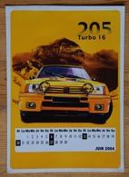 Autocollant Peugeot 205 Turbo 16 Avec Calendrier Juin 2004 - Dim. 14 X 10 Cm - (n°16809) - Stickers