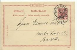 E.P. Carte DEUTSCH OSTAFRIKA 10 Pfg Obl. Sc DAR-ES-SALAM 20/1 1897 Vers Bruxelles - 14946 - Timbres