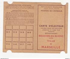 Au Plus Rapide Carte D'électeur Ville De Marseille Valable Pour Les élections Jusqu'au 31 Mars 1947 - Mappe