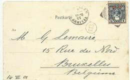 1anna Obl; Square Circle Sur CP Du 14 Juin 1901 Vers Bruxelles - 14950 - Zanzibar (...-1963)