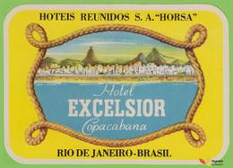 Voyo  HOTEL EXCELSIOR COPACABANA Rio De Janeiro Brazil Hotel Label 1970s Vintage - Etiquettes D'hotels