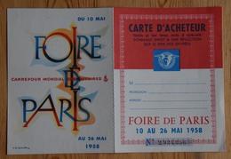 Foire De Paris 1958 - Carte D'acheteur - Exposant : Ets Aune & Cie - Avenue De La République - Paris XI - (n°16812) - Biglietti D'ingresso