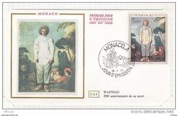 L4I113 MONACO 1972 FDC Watteau 250éme Anniversaire De Sa Mort  3,00f Monaco A 18 01 1972 - Kunst