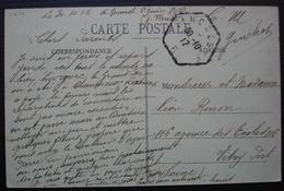 Limoges 1917 Cachet Hexagonal Limoges F + Inscription Manuscrite C.M Guichet, Date Manuscrite 1912 ? - Storia Postale