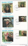 L4N004 POLYNESIE FRANCAISE 1983 FDC Couronnes Polynésiennes 41f 44f 45f Papeete 19 10 1983 / 3 Envel.  Illus. - FDC
