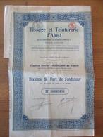 Tissage Et Teinturerie D'Alost - Dixième De Part De Fondateur - Textiel