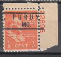 USA Precancel Vorausentwertung Preo, Locals Missouri, Purdy 801, Platte# - Vereinigte Staaten