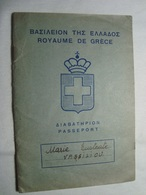 Greece Rare Passport Reisepass Passeport 1957 Of A Woman Issued In Alexandria & Egypt Revenue #10 - Documents Historiques