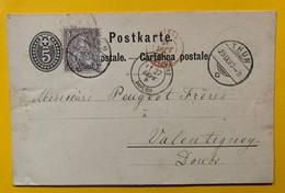 9769 -  5ct + 5ct Thun 25.09.1880 Pour Valentigney - Enteros Postales