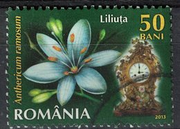 Roumanie 2013 Oblitéré Used Plante Anthericum Ramosum Et Ancienne Horloge SU - 1948-.... Repúblicas