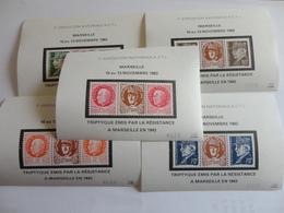 TIMBRE DE FRANCE LIBERATION MARSEILLE TRIPTYQUE EMIS PAR L 'ACTL 1982  TTB SERIE DE 5 - Bevrijding
