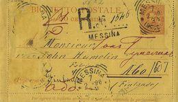 1896 BIGLIETTO REGNO UMBERTO I 20 CENT VIAGGIATO ESTERO DA MESSINA RACCOMANDATA - 1878-00 Umberto I