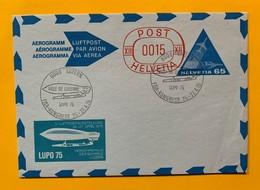 9778 -  Aérogramme No 1 65 Ct + Surtaxe 15 Ct Rouge Ville De Lucerne Lupo 1975 - Interi Postali