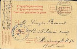 War Guerre 1914/1918 Soignies Interné En Hollande Prisonnier Censure Censor Geoffnet Examiner Censura - Kriegsgefangenschaft
