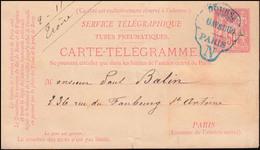 Frankreich Rohrpost-Karte RP 1 Blaugrüner Stempel PARIS BOURSE 6.4.1880 - Non Classés