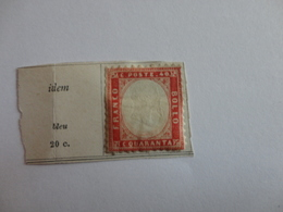 TIMBRE DE ITALIE ROYAUME N°13 SUR FRAGMENT - 1861-78 Victor Emmanuel II.