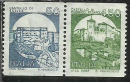 ITALIA REPUBBLICA ITALY REPUBLIC 1985 CASTELLI D'ITALIA BOBINA MACCHINETTE CASTLES LIRE 50 + 450 L. COPPIA PAIR MNH - 1946-.. Republiek