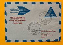 9779 -  Aérogramme No 1 65 Ct  FDC Zürich 58 09.06.1964 Vol Pour Tokyo - Stamped Stationery