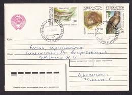Uzbekistan: Cover To Russia, 1993, 3 Stamps, Bird, Lizard Reptile, Animal, Rare Real Use (traces Of Use) - Uzbekistan