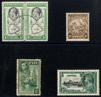 BRITISH COMMONWEALTH Varieties ASCENSION 1934 1d Black & Emerald, VFU Pair Incl. 'teardrops' Flaw, SG.22a (Cat. £180+),  - Non Classés