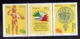 ITALIA REPUBBLICA ITALY REPUBLIC 1984 ESPOSIZIONE MONDIALE DI FILATELIA STAMP EXHIBITION 85 SERIE TRITTICO SET MNH - 1946-.. Republiek