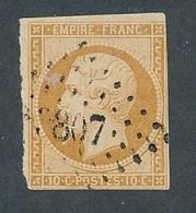 N-687 FRANCE: Lot Avec N°13A  Obl Petit Chiffre 3807 (3 Peu Encré) Indice 13(Chesley, 9 ) - 1853-1860 Napoléon III
