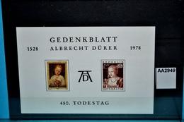 Aa2949 Gedenkblatt 450. Todestag Albrecht Dürer, Maler, Painter, Peintre, Pintor, Pittore, Österreich 1978 - Non Classés