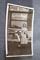 Photo Carte Postale Originale,RARE Café Du Parc,Eugène Ledoux Joueur De Balle Pelote - Cartes Postales