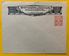9786 -  Enveloppe Privée 10 Ct Rouge Neuve  Montbaron & Gautschi Neuchâtel Photogravure - Entiers Postaux