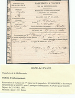 840/30 - Paquebots De La Méditerranée - Ligne Du LEVANT - Bulletin D'Embarquement 1841 NAPLES Pour MALTE - Maritime Post