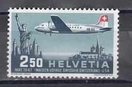 "Switzerland 1947 - First Flight Of The ""Swissair"" Geneva-New York, Mi-Nr. 479, MNH** - Switzerland"