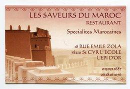 CdV °_ Resto-78-St-Cyr L'Ecole-Saveurs Du Maroc - Cartoncini Da Visita