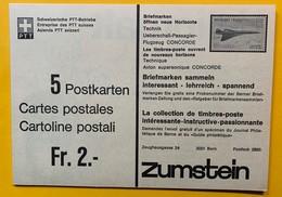 9791 -  Carte No 207 1976  40 Ct Rouge Carnet Complet De 5 Cartes Publicité Timbre Concorde - Ganzsachen