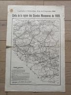 Carte De La Région Des Grandes Manoeuvres De 1909 (Belgique / Chimay-Philippeville, Sottegem, Lessines, Ath, Etc... - Documenten