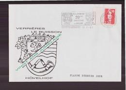 """Enveloppe Du 18 Mai 1991 Cachet """" Vingt Ans Jumelage Verrières Le Buisson - Hövelhof """" Flamme Derneir Jour - France"""
