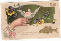 CPA Carte Gaufrée 1 Er Avril - 1er Avril - Poisson D'avril