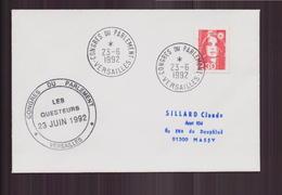 """Enveloppe Du 23 Juin 1992 De Versailles Pour Massy Cachet """" Congrès Du Parlement, Les Questeurs """" - France"""
