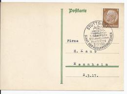DT- Reich (000650) Postkarte Mit Sonderstempel, 1. Schwäbische Postwertausstellung, Stuttgart Den 16.1.1938 - Briefe U. Dokumente